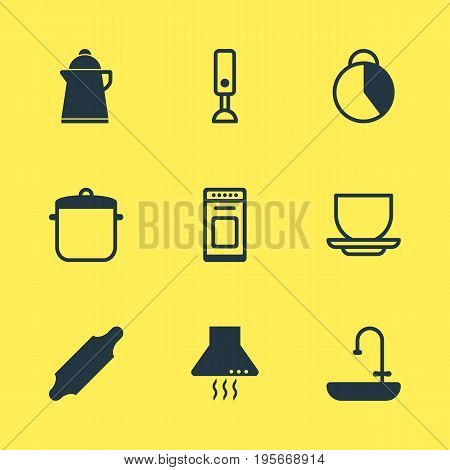 Vector Illustration Of 9 Cooking Icons. Editable Pack Of Washstand, Mixer, Coffee Cup Elements.