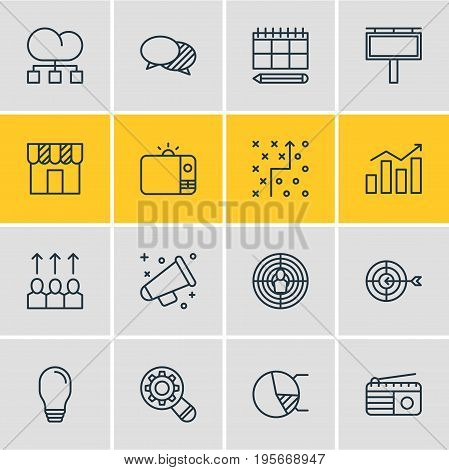 Vector Illustration Of 16 Marketing Icons. Editable Pack Of Cloud Distribution, Announcement, Circle Diagram And Other Elements.