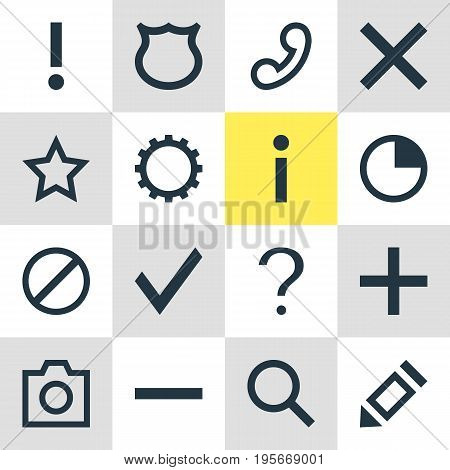 Vector Illustration Of 16 Interface Icons. Editable Pack Of Snapshot , Handset, Cogwheel Elements.