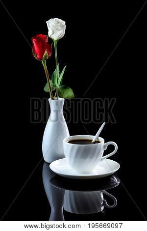 Composition With Cup Of Coffee, White And Red Rose On A Black Reflective Background