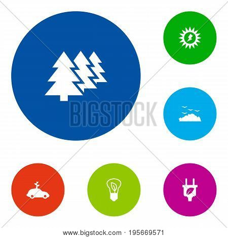 Set Of 6 Ecology Icons Set.Collection Of Rubbish, Energy, Car And Other Elements.
