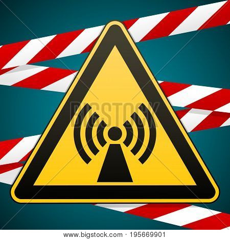 Safety sign. Caution danger. Electromagnetic field. Barrier tape Vector illustration