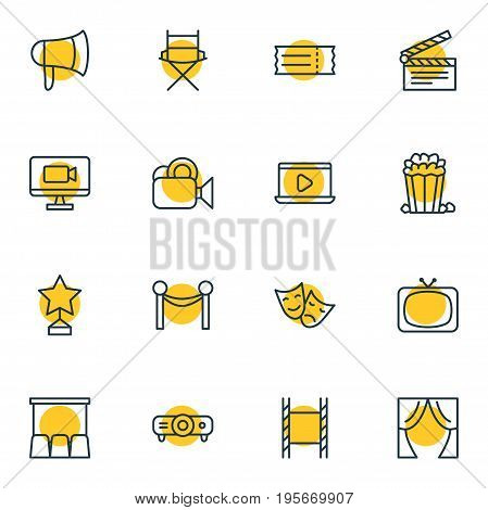 Vector Illustration Of 16 Cinema Icons. Editable Pack Of Megaphone, Monitor, Snack And Other Elements.