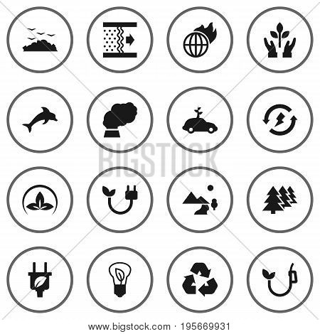 Set Of 16 Bio Icons Set.Collection Of Friendly, Rubbish, Purification And Other Elements.