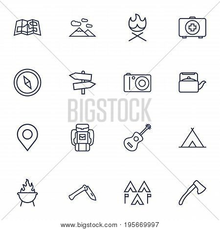Set Of 16 Outdoor Outline Icons Set.Collection Of Photographing, Shelter, Guidepost And Other Elements.