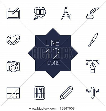 Set Of 12 Constructive Outline Icons Set.Collection Of Property Plan, Dslr Camera, Inkwell With Pen And Other Elements.