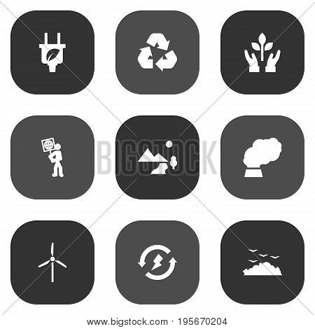 Set Of 9 Bio Icons Set.Collection Of Renewable, Nature, Contamination And Other Elements.