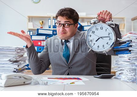 Businessman missing deadlines due to excessive work