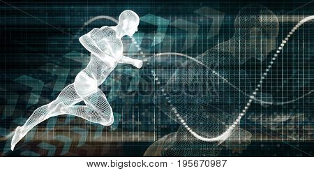 Wire Mesh Man Running on a Chart Background  3D Illustration Render