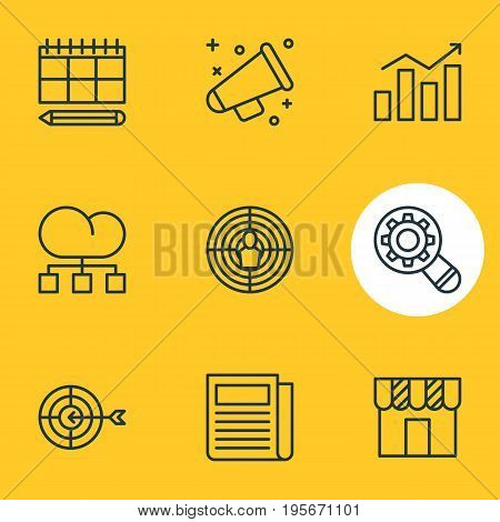 Vector Illustration Of 9 Advertising Icons. Editable Pack Of Analysis, Shop, Announcement And Other Elements.