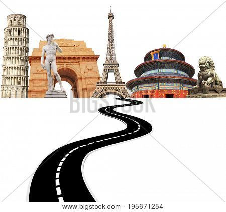 Famous monuments of the world and road. Isolated on white background.