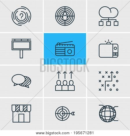 Vector Illustration Of 12 Marketing Icons. Editable Pack Of Goal, Aiming, Fm Broadcasting And Other Elements.