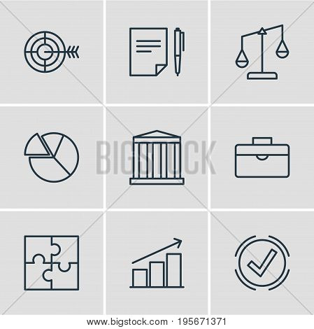 Vector Illustration Of 9 Trade Icons. Editable Pack Of Chart, Columns, Goal And Other Elements.