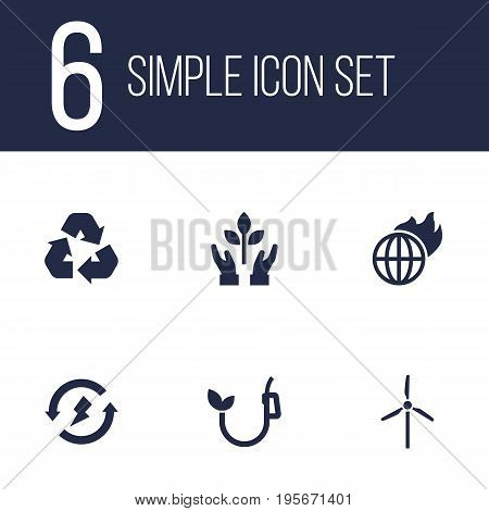Set Of 6 Bio Icons Set.Collection Of Cleaning, Warm, Renewable And Other Elements.