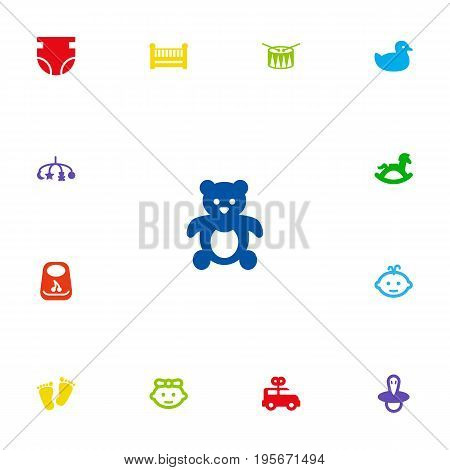 Set Of 13 Child Icons Set.Collection Of Cot, Trace, Bus And Other Elements.