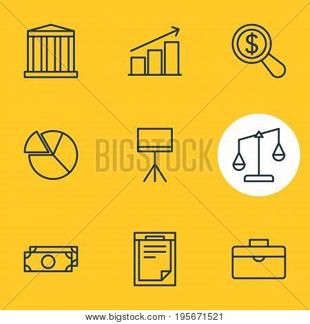Vector Illustration Of 9 Trade Icons. Editable Pack Of Columns, Cash, File And Other Elements.
