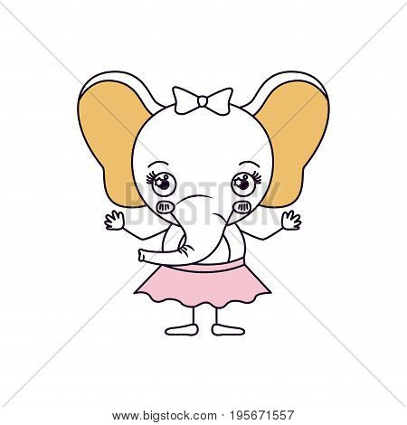 silhouette color sections caricature of cute expression of female elephant in skirt with bow lace vector illustration