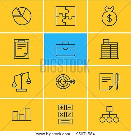 Vector Illustration Of 12 Business Icons. Editable Pack Of Graph, Calculate, House And Other Elements.