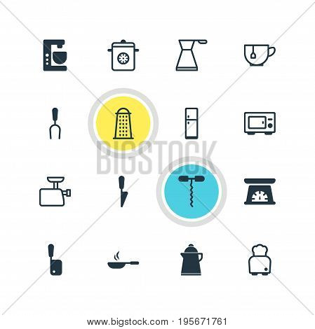 Vector Illustration Of 16 Cooking Icons. Editable Pack Of Kettle, Wine Opener, Measuring Tool And Other Elements.