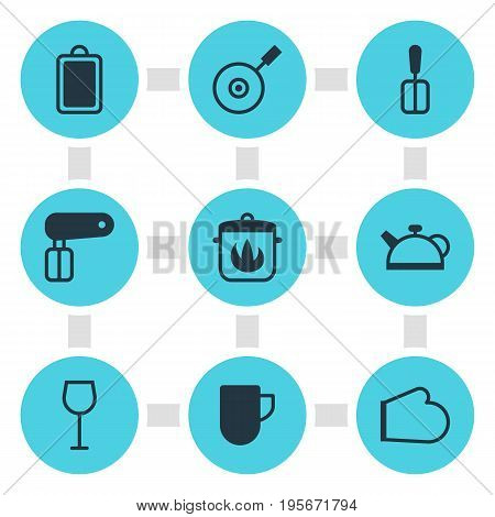 Vector Illustration Of 9 Cooking Icons. Editable Pack Of Stewpot, Skillet, Tea Cup And Other Elements.