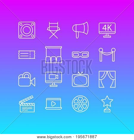 Vector Illustration Of 16 Film Icons. Editable Pack Of Coupon, Megaphone, Hall And Other Elements.