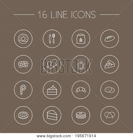 Set Of 16 Bakery Outline Icons Set.Collection Of Apple Pie, Cookie, Cheesecake And Other Elements.