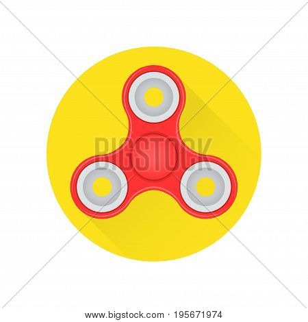 Hand fidget spinner toy flat icon on the white background. Vector illustration.