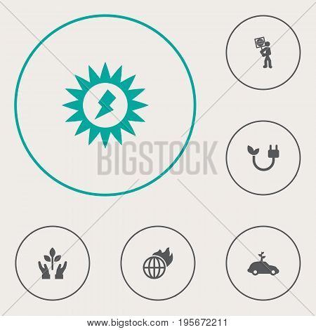 Set Of 6 Atmosphere Icons Set.Collection Of Warm, Car, Energy And Other Elements.