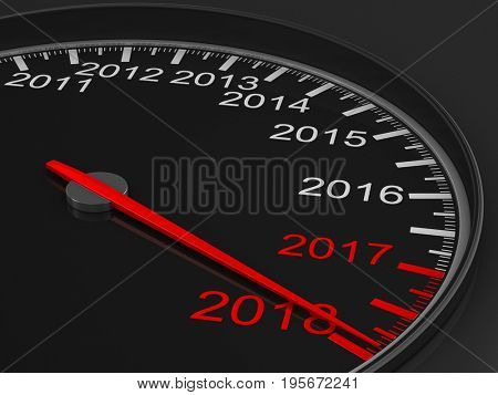 Calendar from speedometer on black background. 3D illustration