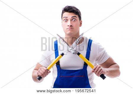 Man gardener with gardening scissors on white background isolate