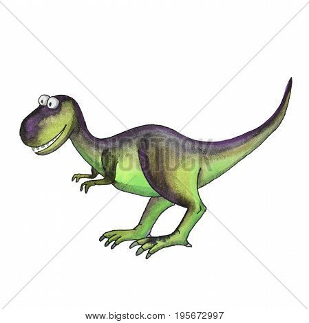prehistoric dinosaur tyrannosaurus t rex isolated on white background. Fossil animals and reptiles in cartoon watercolor style.