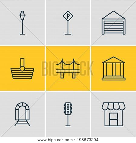 Vector Illustration Of 9 City Icons. Editable Pack Of Courthouse, Awning, Subway And Other Elements.