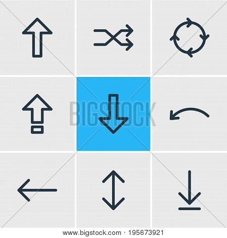 Vector Illustration Of 9 Arrows Icons. Editable Pack Of Left, Randomize, Download Elements.
