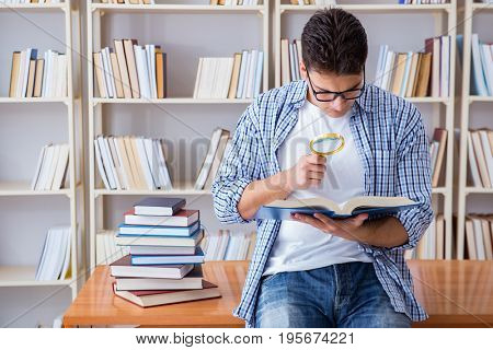 Young student with books preparing for exams