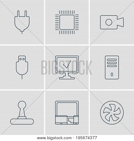 Vector Illustration Of 9 Notebook Icons. Editable Pack Of Serial Bus, Microprocessor, Socket And Other Elements.
