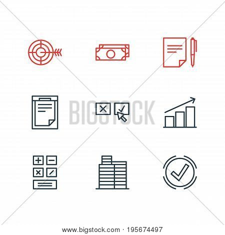 Vector Illustration Of 9 Trade Icons. Editable Pack Of Calculate, Columns, Goal And Other Elements.