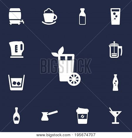 Set Of 13 Drinks Icons Set.Collection Of Cream, Electric Teapot, Turkish Coffee And Other Elements.