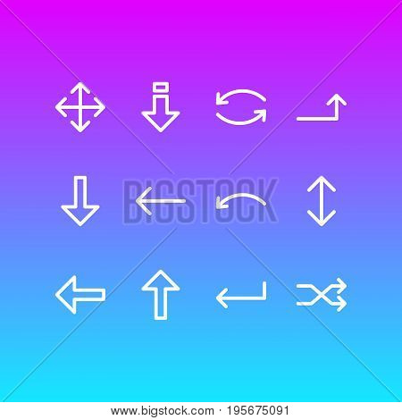 Vector Illustration Of 12 Direction Icons. Editable Pack Of Undo, Raise, Update And Other Elements.