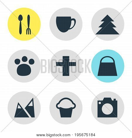 Vector Illustration Of 9 Location Icons. Editable Pack Of Handbag, Photo Device, Cake Elements.