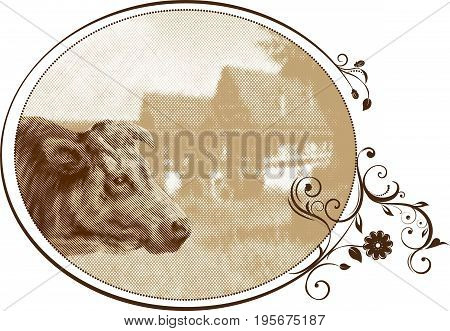 A cow on the background of a rural nature. Vector image is made in the form of an engraving.