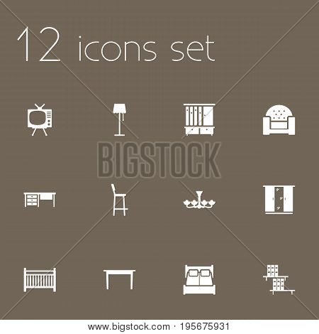 Set Of 12 Situation Icons Set.Collection Of Cupboard, Cot, Worktop And Other Elements.