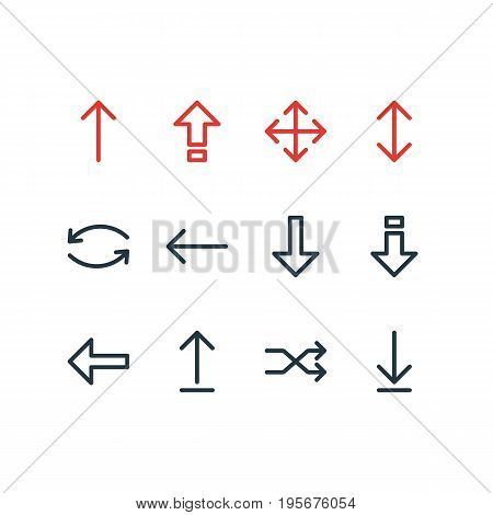 Vector Illustration Of 12 Sign Icons. Editable Pack Of Submit, Loading, Left And Other Elements.