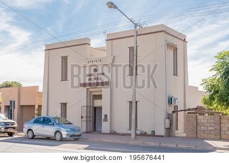KAKAMAS SOUTH AFRICA - JUNE 12 2017: The Egyptian-style transformer building was built in 1914. The word Kakamas is spelt out above the entrance door using middle Phoenician script. Used as museum
