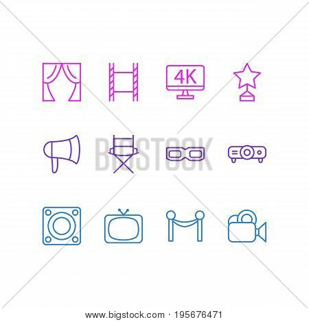 Vector Illustration Of 12 Movie Icons. Editable Pack Of Megaphone, Camera, Filmstrip And Other Elements.
