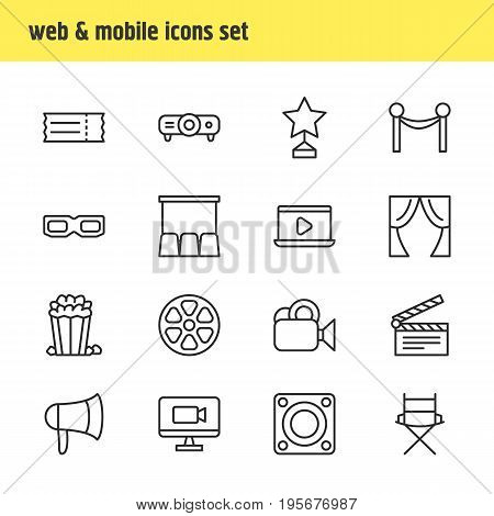 Vector Illustration Of 16 Film Icons. Editable Pack Of Loudspeaker, Coupon, Hall And Other Elements.