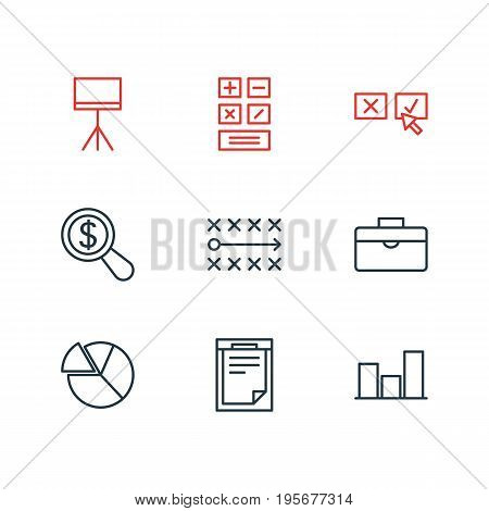 Vector Illustration Of 9 Trade Icons. Editable Pack Of File, Calculate, Chart And Other Elements.