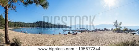Panorama of idyllic Zephyr Cove at Lake Tahoe on a brilliant summer day.