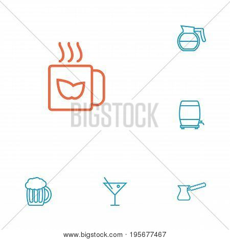 Set Of 6 Drinks Outline Icons Set.Collection Of Cocktail, Beer, Coffeepot And Other Elements.