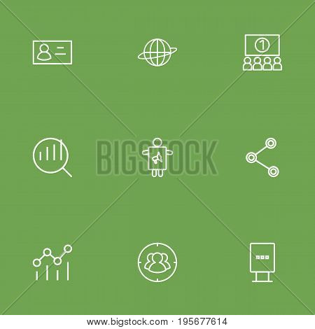 Set Of 9 Commercial Outline Icons Set.Collection Of Stand, Business Card, Worker Elements.