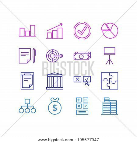 Vector Illustration Of 16 Trade Icons. Editable Pack Of Chart, Recision, Bag And Other Elements.
